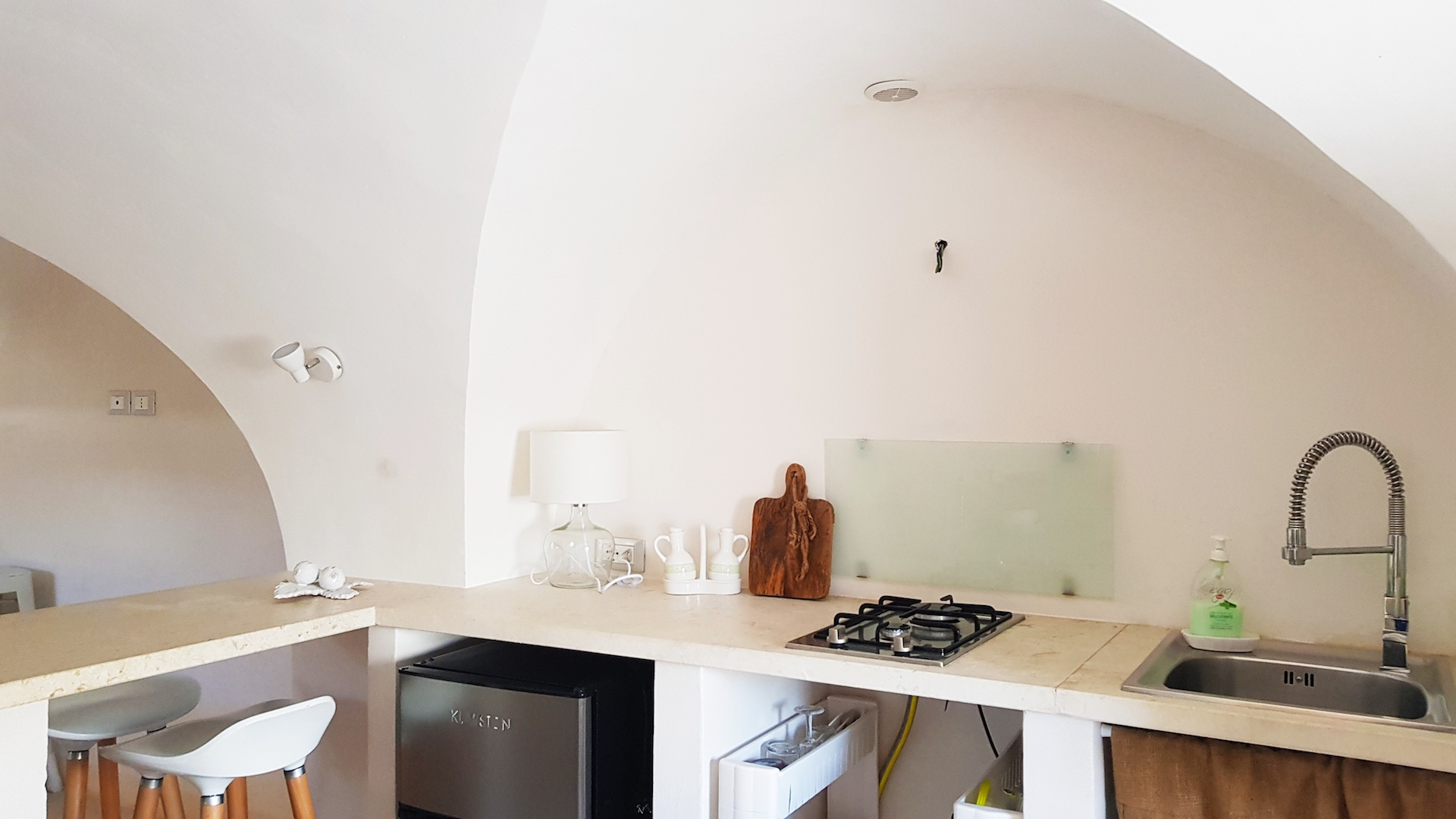 The furnished kitchen at Casa Emma holiday rental home in Ostuni Puglia