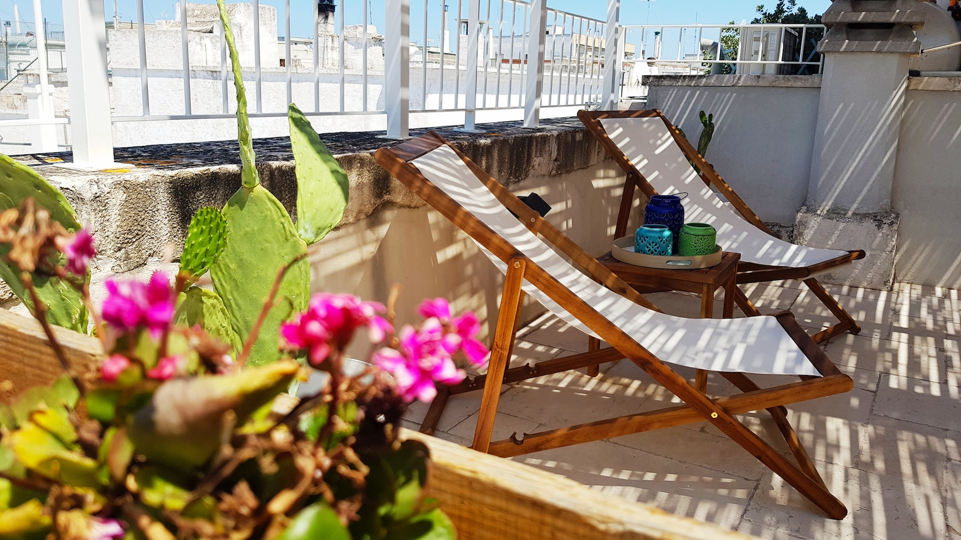 Beautifully decorated lower rooftop terrace at Casa Emma holiday rental home in Ostuni