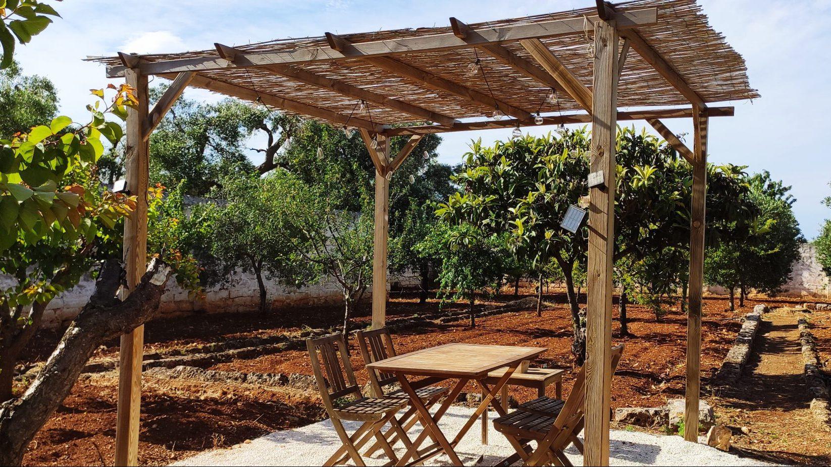 Gazebo in the garden at Masseria Bellavista Ostuni Vacation holiday rental villa in Puglia with pool and seaview