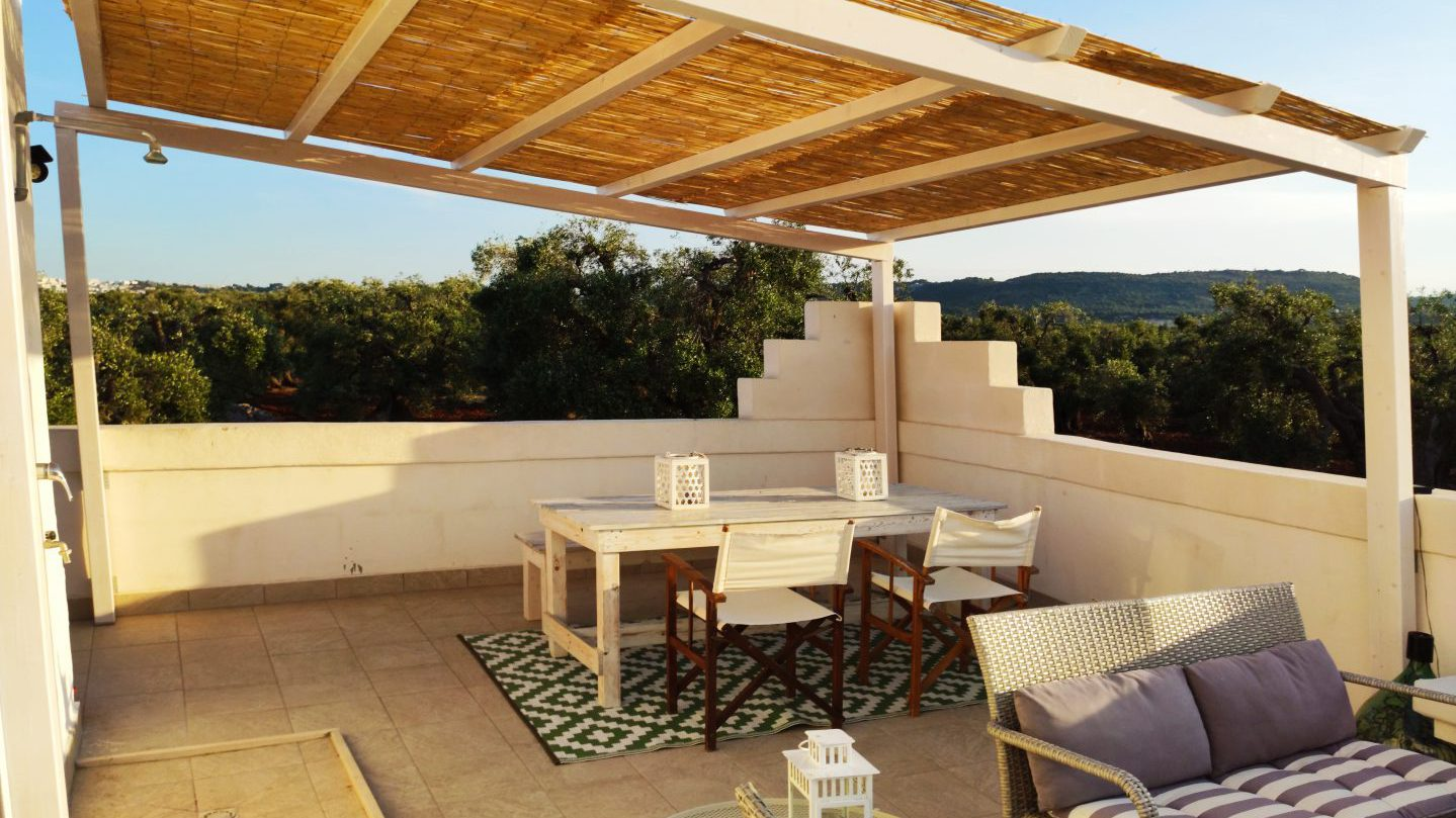 Outdoor dining at the private terrace/patio at Masseria Bellavista Ostuni vacation holiday rental villa in Puglia with pool and seaview