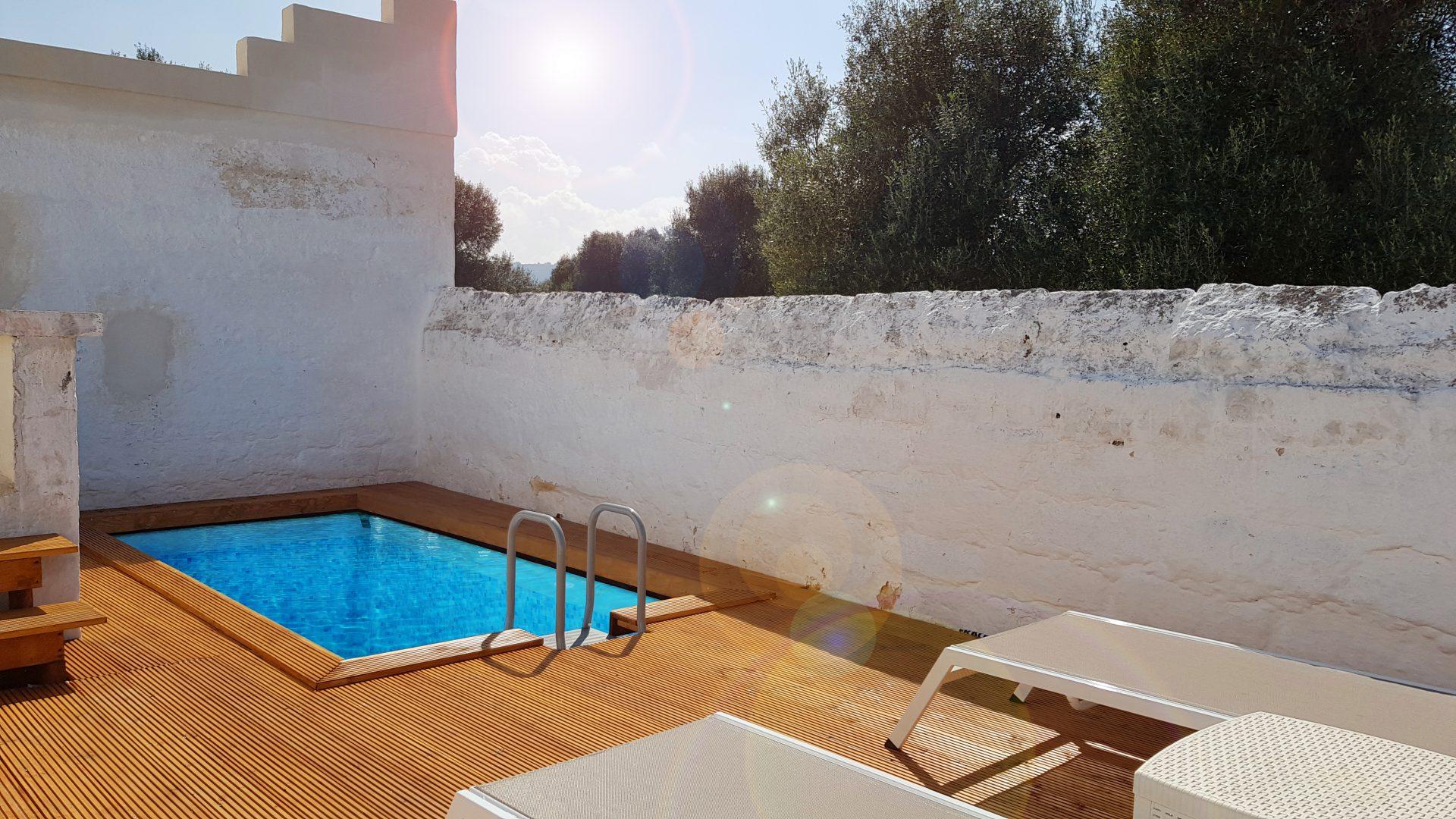 Pool at Masseria Bellavista historic holiday vacation rental villa in ostuni puglia seaview
