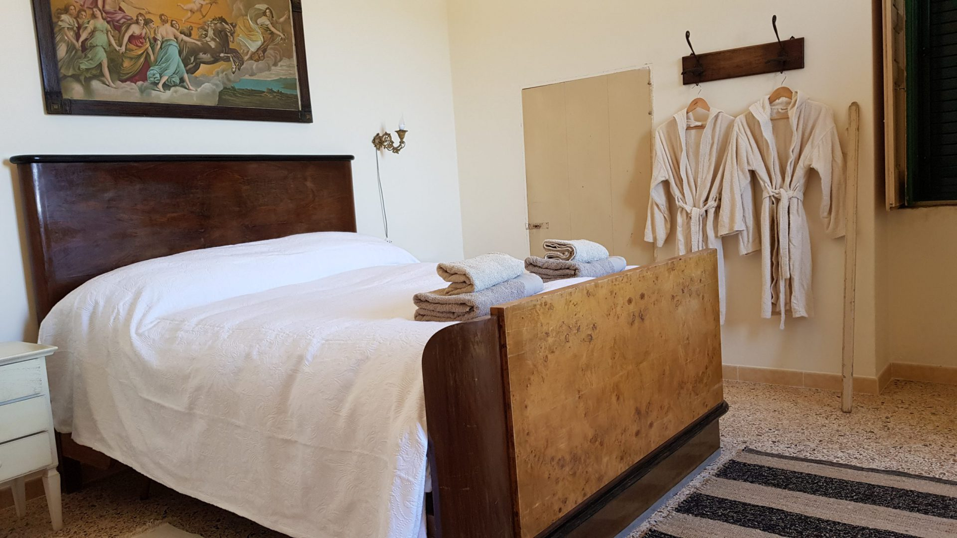 Queen size bedroom in Masseria Bellavista Ostuni Vacation holiday rental villa in Puglia with pool and seaview