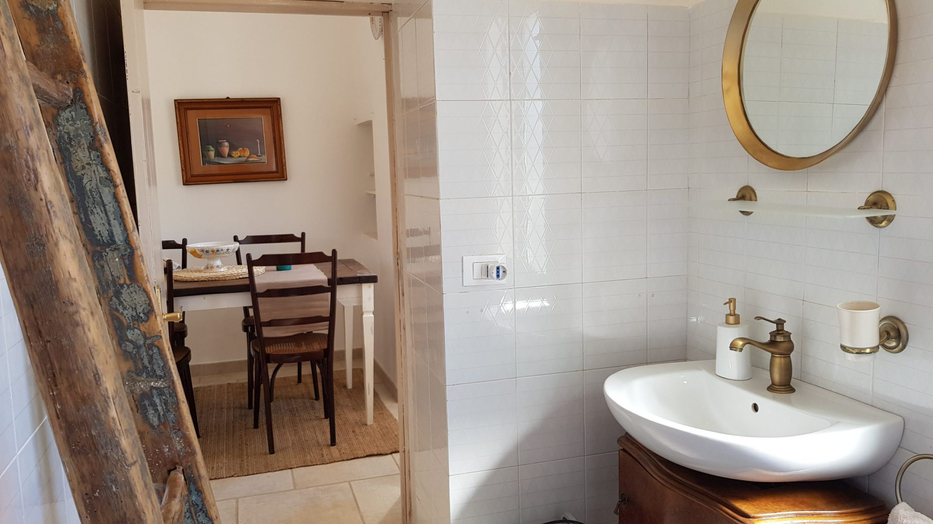 Access to the second bathroom at Masseria Bellavista Ostuni Vacation holiday rental villa in Puglia with pool and seaview