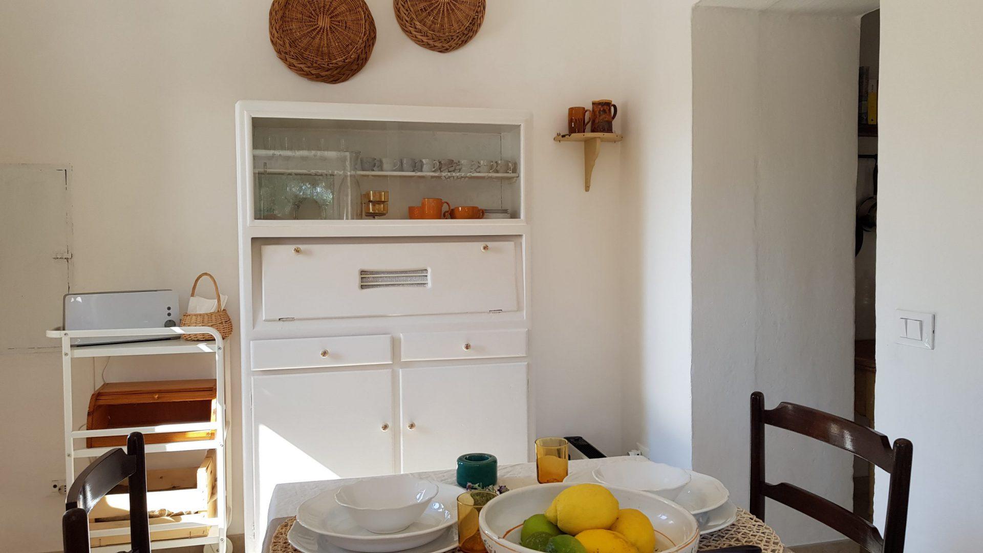 Dining area at Masseria Bellavista Ostuni Puglia holiday vacation rental villa with pool and sea view