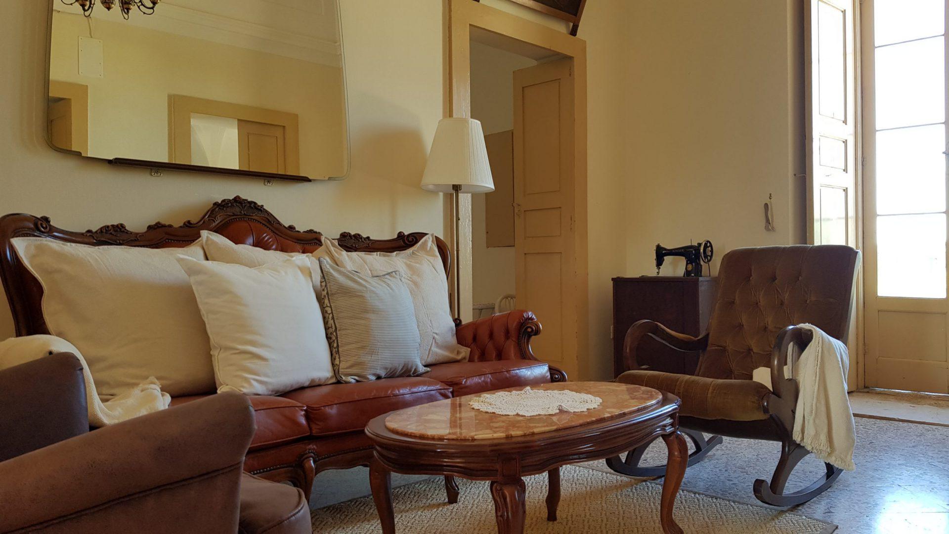 Living room in Masseria Bellavista Ostuni Vacation holiday rental villa in Puglia with pool and seaview