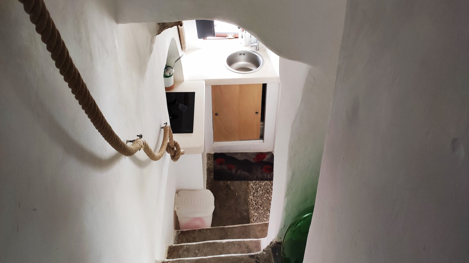 Steps leading from the kitchen at Casa dei Fiori holiday vacation rental home in Ostuni Puglia
