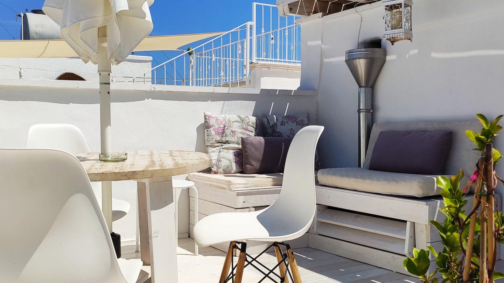 Glimpse of the lower terrace at Casa dei Fiori holiday vacation rental home in Ostuni Puglia