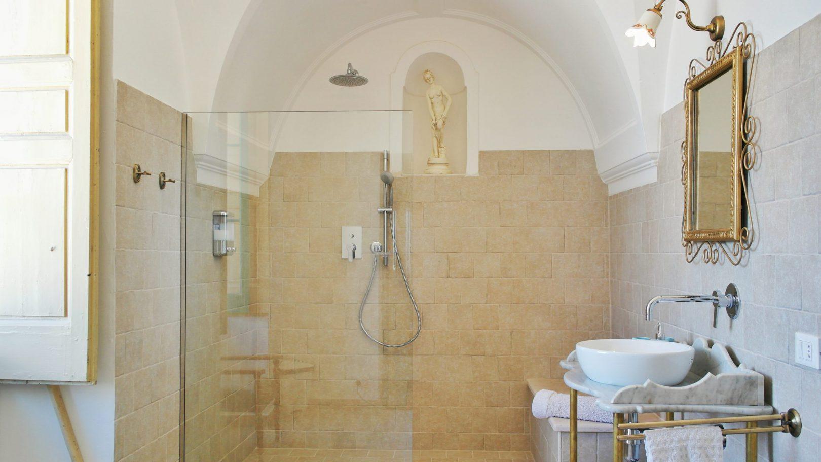 Enjoy modern bathroom facilities at Masseria Bellavista historic holiday vacation rental villa in ostuni puglia seaview with pool