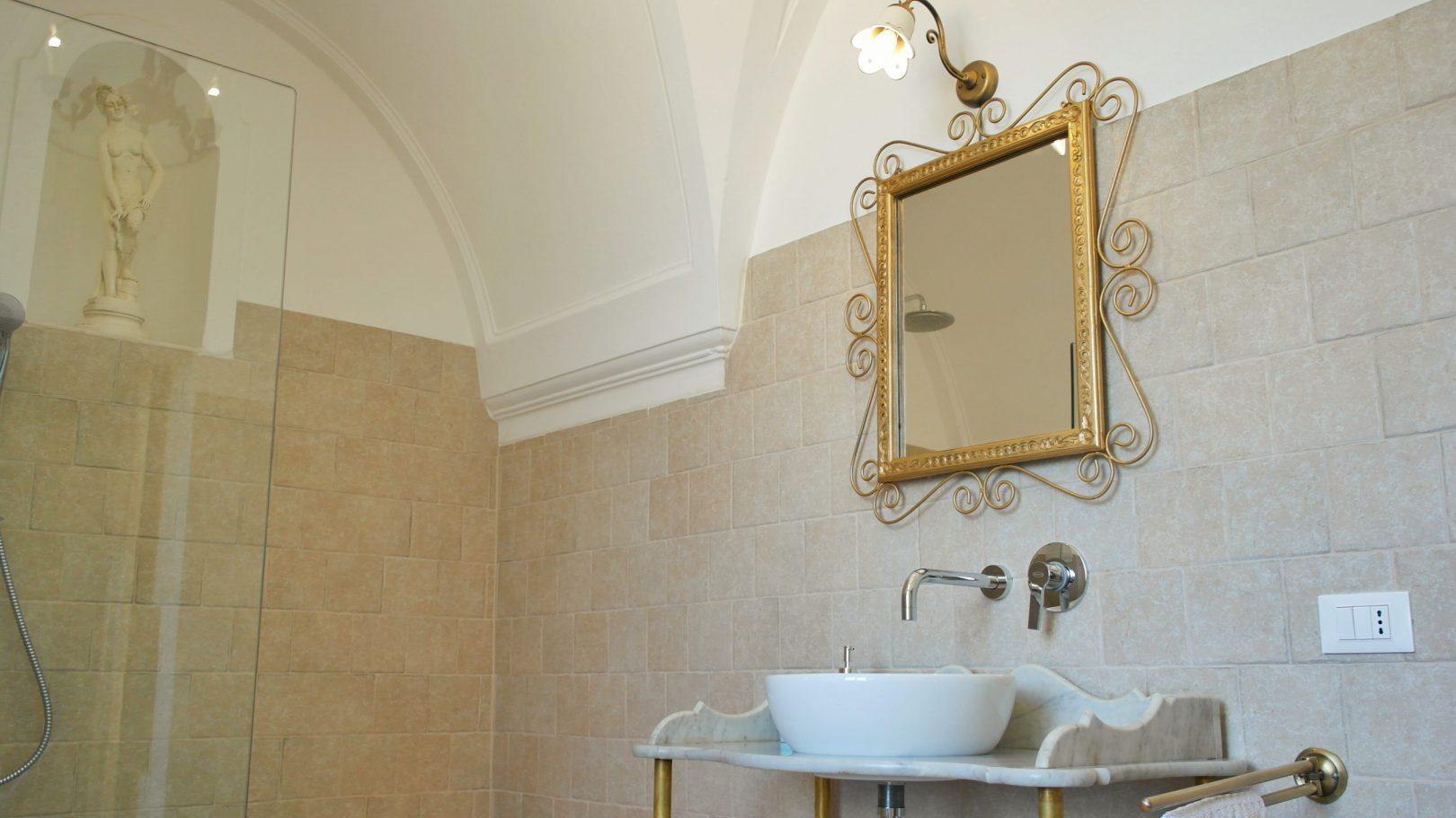 Beautiful furnishings in the bathroom at Masseria Bellavista historic holiday vacation rental villa in ostuni puglia with seaview and pool