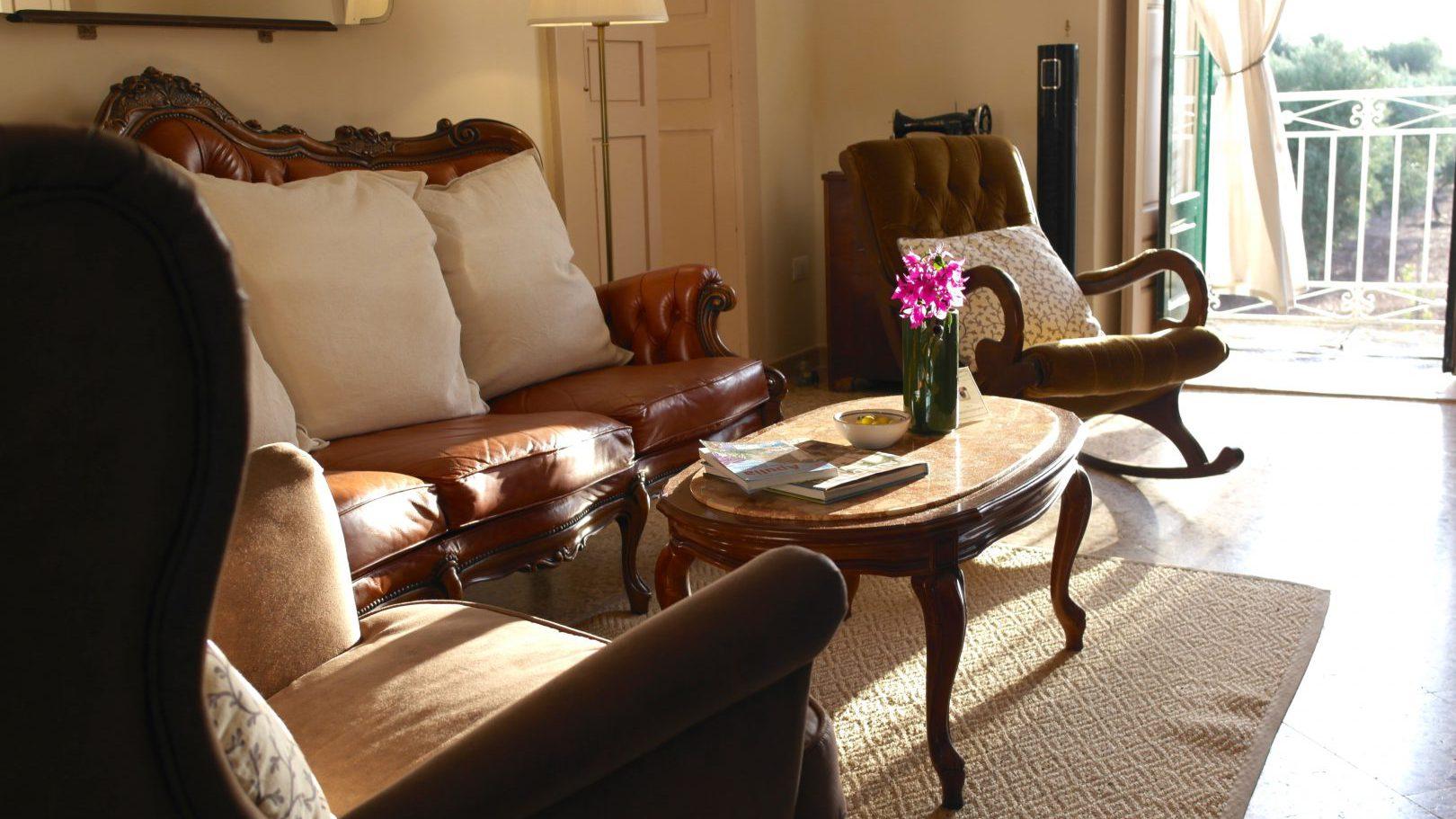Bright and cozy Living room in Masseria Bellavista Ostuni Vacation holiday rental villa in Puglia with pool and seaview